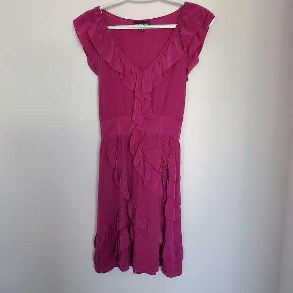 Warehouse dark fuschia ruffled silk dress sz 8 UK